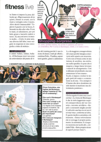 Chrys Columbine Burlesque Star in Glamour Italy 400