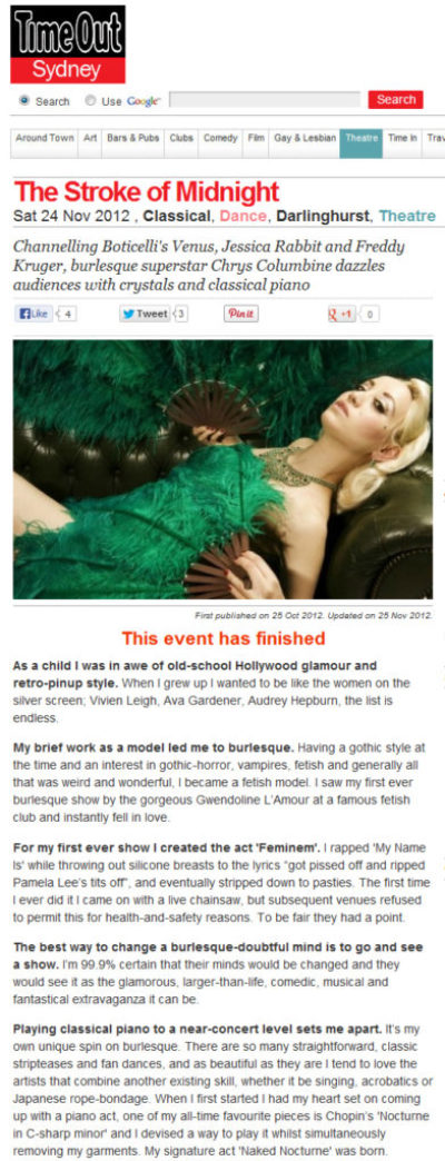 London Burlesque Star Chrys Columbine Time Out Sydney Interview